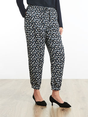 Printed cady jogging trousers