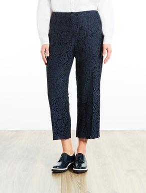 Pantalón cropped de encaje rebrodé