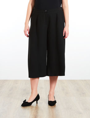 Wide-leg envers satin crêpe trousers