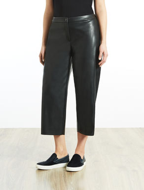 Cropped coated-effect fabric trousers