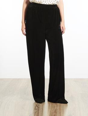 Pantalone in jersey di velluto lucido