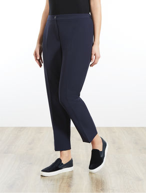 Slim-fit diagonal stretch trousers