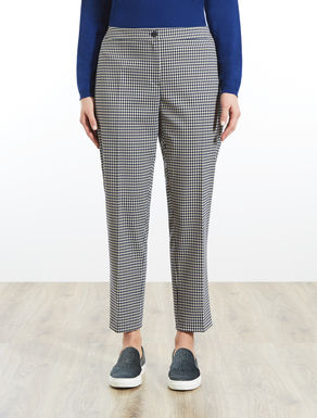 Slim-fit patterned trousers