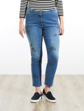 Stretch denim jeans with writing