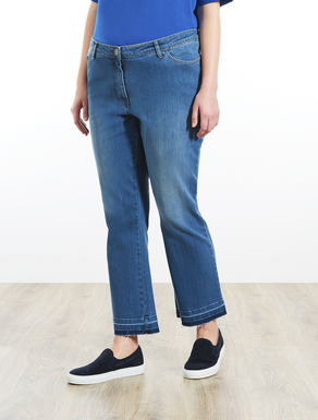 Jean pantacourt en denim super stretch