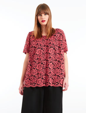 Pleated embellished lace tunic