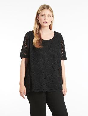 Pleated embellished lace tunic