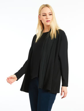 Cardigan with pleated insert
