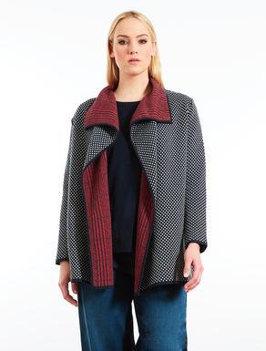 Cardigan jacquard in lana e viscosa