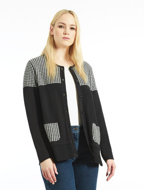 Wool blend jacquard cardigan