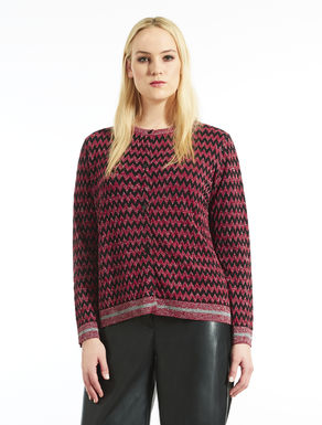Cardigan jacquard in lana e lurex
