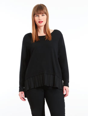 Viscose sweater with pleated insert