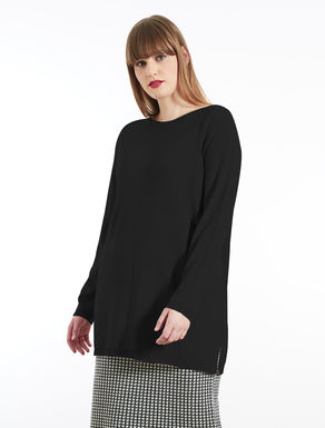 Long wool sweater with topstitching