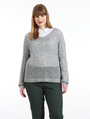 Viscose and wool openwork sweater