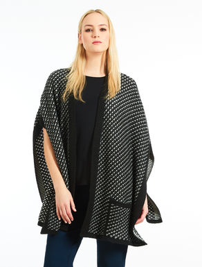Two-tone wool blend jacquard cape