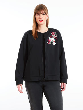 Embroidered stretch cotton sweatshirt