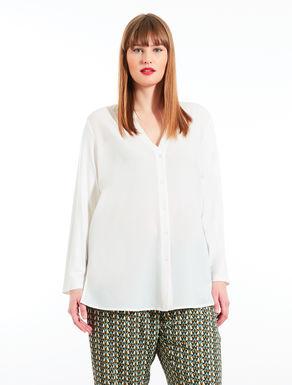 Camisa de crepé de China y jersey