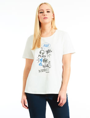 T-shirt in jersey con stampa