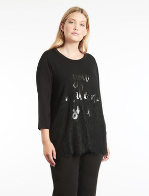 Viscose sweater with lace and print