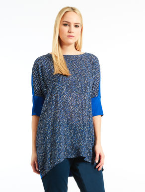Jersey and printed fabric tunic