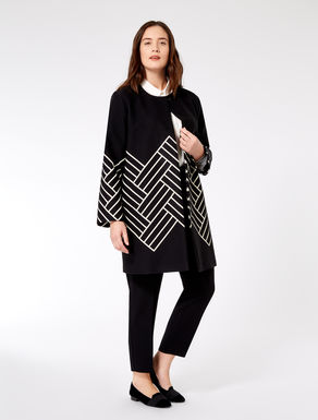 Two-tone jacquard duster coat