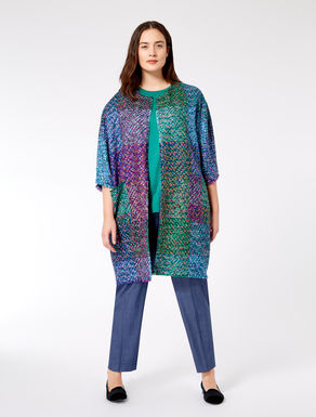 Patchwork basketweave duster coat