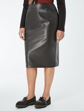 Stretch nappa pencil skirt