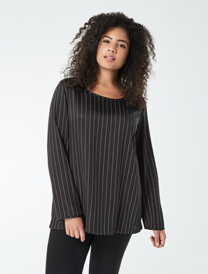 Striped printed twill tunic