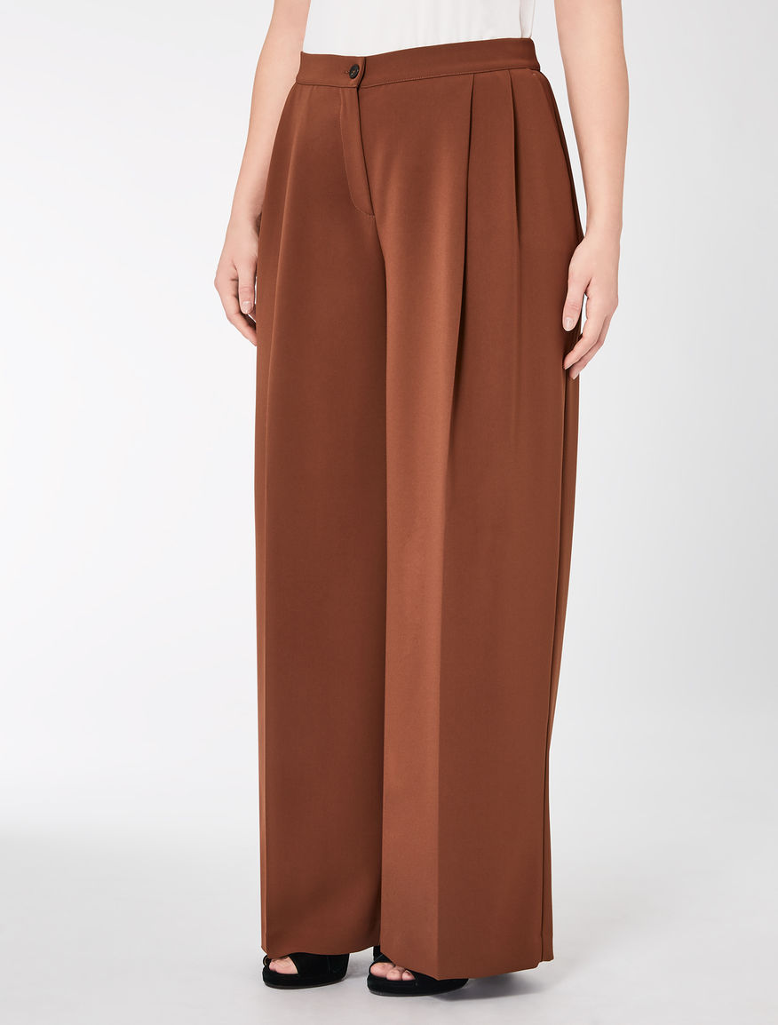 Wide-cut triacetate trousers