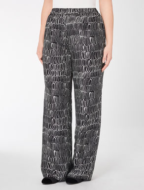 Printed silk twill trousers