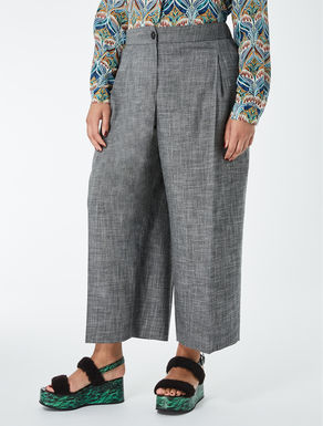 Wool and viscose cropped trousers