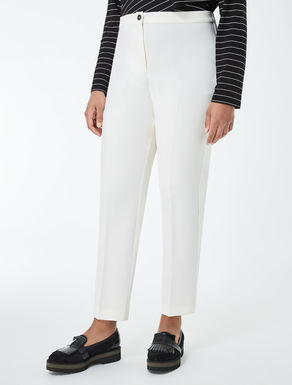 Slim-fit double crêpe trousers
