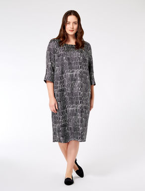 Printed silk twill dress