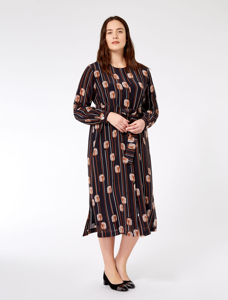 Printed silk shirt dress