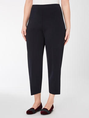 Stretch viscose wide-leg trousers