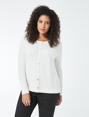 Embroidred stretch viscose cardigan