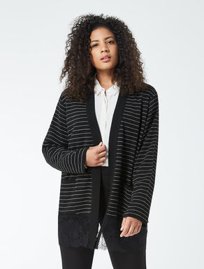 Striped viscose and wool cardigan
