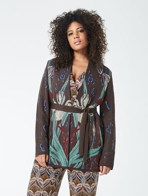 Patterned cotton cardigan