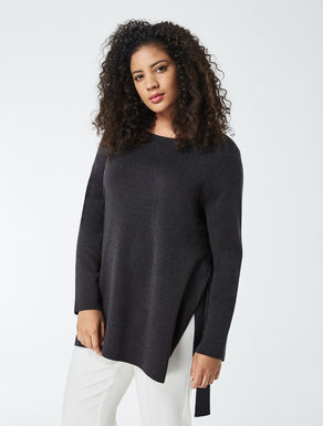 Pure wool sweater with slits