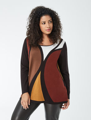 Pure wool sweater with inlay