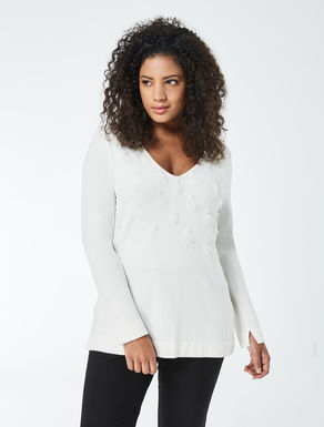 Embroidred stretch viscose sweater