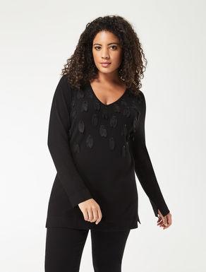 Embroidred stretch viscose sweater
