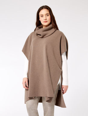 Cashmere blend poncho with collar