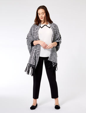 Patterned wool blend poncho