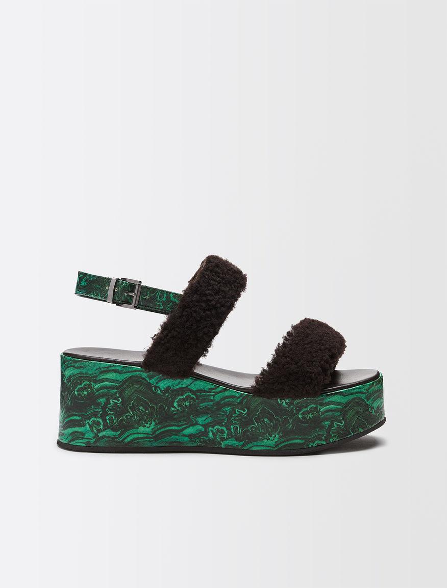 Sandales à plateforme effet fourrure