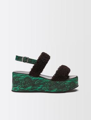 Fur effect platform sandal