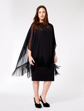 Georgette poncho with fringe