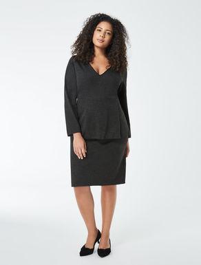 Jersey sheath dress with peplum