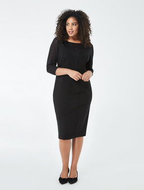 Jersey sheath dress with lace