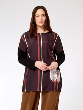 Two-tone tunic with print